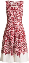 Oscar de la Renta Graphic leaves-print stretch-cotton dress