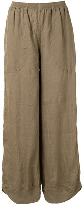 Giorgio Armani Cropped Wide-Leg Linen Trousers