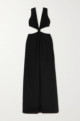 Dion Lee Knotted Cutout Mulberry Silk Gown - Black