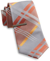 Gold Series Gingham Plaid Tie With Tie Bar Casual Male XL Big & Tall