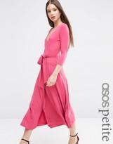 Asos Wrap Maxi Dress in Crepe with Tie Belt