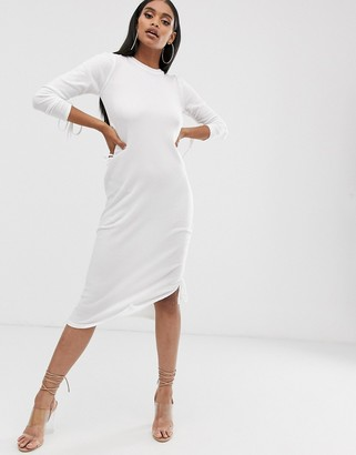 Asos Design DESIGN midi dress with ruched cut out detail-White