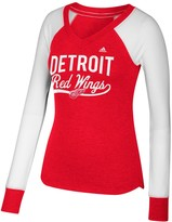 adidas Women's Red/White Detroit Red Wings Elbow Patch Long Sleeve V-Neck T-Shirt