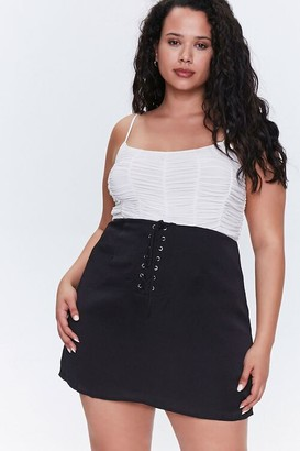 Forever 21 Plus Size Satin Lace-Up Skirt