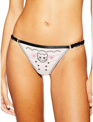 Topshop Kitty Embroidered Thong