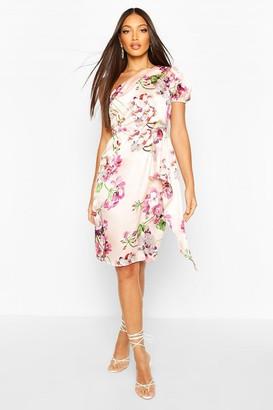 boohoo Floral Print One Shoulder Drape Midi Dress