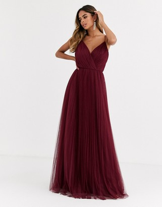 ASOS DESIGN Fuller Bust cami pleat tulle maxi dress