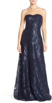 Jenny Yoo Women's 'Sadie' Sequin Lace Strapless A-Line Gown