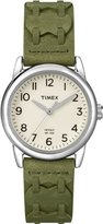 Timex Women's T2N903 Weekender Green Leather Strap Watch