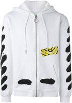 Off-White printed zip up hoodie - men - Cotton - XS