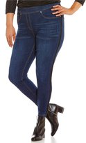 Peter Nygard Nygard Slims Plus Luxe Denim Faux Leather Trimmed Jeggings