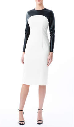Nha Khanh Colorblock Sheath Dress w/ Faux Leather Yoke
