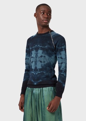 Emporio Armani Sweater With Watercolour-Effect Jacquard Pattern