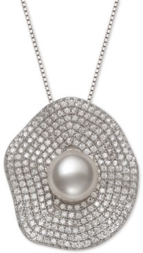 """Belle de Mer Cultured Freshwater Pearl (8mm) & Cubic Zirconia 18"""" Pendant Necklace in Sterling Silver"""