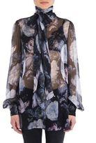 Alexander McQueen Floral Printed Silk Top