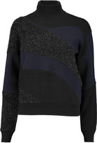 Jil Sander Paneled textured-lamé and ribbed wool-blend turtleneck sweater