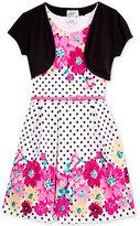 Beautees 2-Pc. Floral Dress & Shrug Set, Little Girls (2-6X)