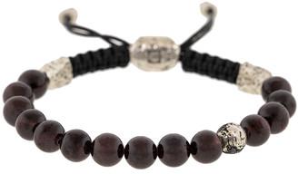 John Varvatos Adjustable Garnet and Black Diamond Bead Bracelet