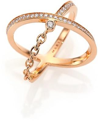 Marli Ransom Diamond & 18K Rose Gold Crisscross Ring