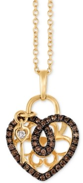 "LeVian Le Vian Chocolatier Diamond Heart & Key 18"" Pendant Necklace (1/4 ct. t.w.) in 14k Gold"