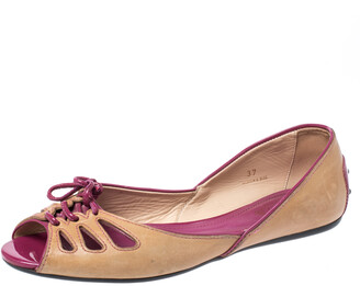 Tod's Brown Leather And Patent Trim Peep Toe Ballet Flats Size 37