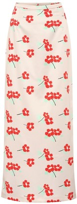Bernadette Norma floral stretch-satin skirt