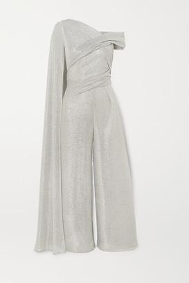 Talbot Runhof Sina Draped Cape-effect Metallic Voile Jumpsuit - Silver