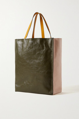 Marni Museo Medium Color-block Crinkled-leather Tote - Pastel pink