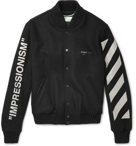 Off-White Printed Melton Virgin Wool-Blend Bomber Jacket