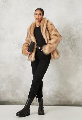Missguided Brown Faux Fur Collar Coat
