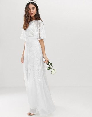 Asos Edition EDITION embroidered flutter sleeve wedding dress-White