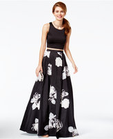 Sequin Hearts Juniors' 2-Pc. Floral-Print A-Line Gown, A Macy's Exclusive Style