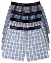 Hanes Men's Platinum FreshIQ Underwear, Elastic Waistband Plaid Woven Boxer 4 Pack