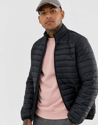 Asos Design DESIGN quilted jacket with stand collar in black