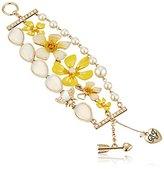 "Betsey Johnson Luminous Betsey"" Mixed Flower and Opal Stone Toggle Bracelet"