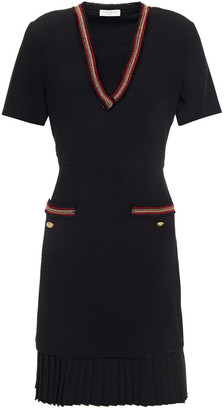Sandro Chain-trimmed Embroidered Crepe Mini Dress