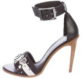 Tibi Leather Crystal-Accented Sandals