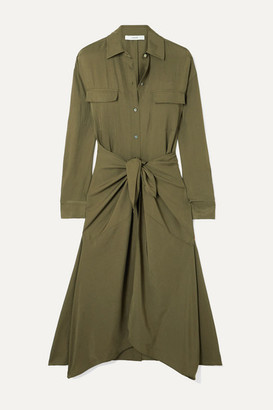 Vince Tie-front Crinkled-satin Midi Dress - Army green