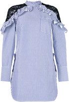 Self-Portrait striped lace shoulder dress - women - Cotton/Polyester - 10