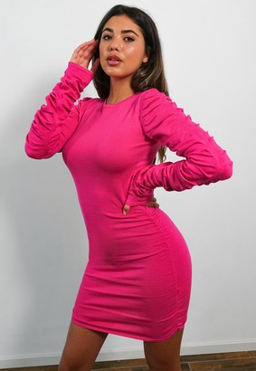 Missguided Pink Cut Out Back Ruched Mini Dress