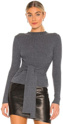 MILLY Belted Tie Front Merino Pullover