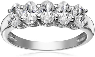 Amazon Collection Platinum or Gold Plated Sterling Silver Oval-Shape 5-Stone Ring made with Swarovski Zirconia Size 6