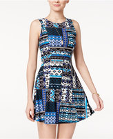 Planet Gold Juniors' Printed Fit and Flare Dress