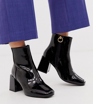 ASOS DESIGN Wide Fit Reed heeled ankle boots in black patent