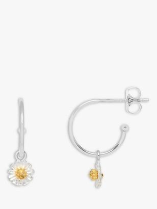 Estella Bartlett Wildflower Drop Hoop Earrings, Silver/Gold