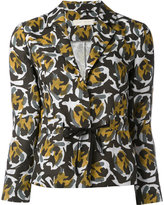 L'Autre Chose abstract print fitted jacket - women - Linen/Flax - 40