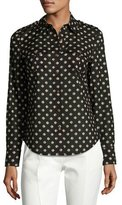 Tory Burch Brigitte Fish-Print Poplin Shirt, Black