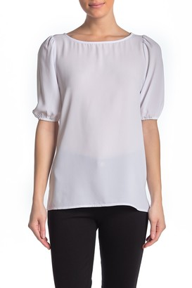 Premise Cashmere Solid Boatneck Elbow Sleeve Blouse