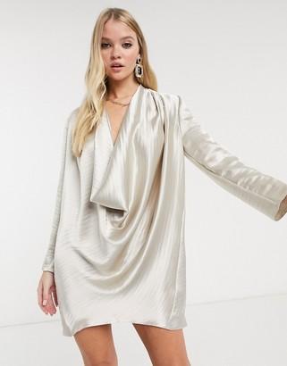 Asos Design DESIGN high shine satin cowl neck mini shift dress-Cream