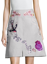 Temperley London Sailor Cotton Embroidered A Line Skirt